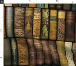 Books Book Library Vintage Literary Literature Fabric Printed by Spoonflower BTY
