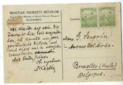 1921 Gyor Hungary Commercial Post Card to Brusselles Belgium Pair 50f Stamp #338