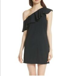 Joie Black One Off Shoulder Mini Cocktail Ruffle Dress Size 12 $48.00