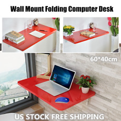 Red Wall Mount Floating Folding Computer Desk Home Office Rest PC Table 60*40cm $63.15