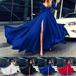 Women Evening Party Formal Cocktail Sleeve Neck Dress Gown Long V Ball Prom $28.61