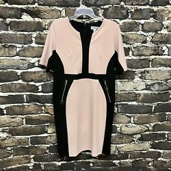 NWT Shelby & Palmer Womens Size 10 Pink Black Midi Pencil Dress With Zippers $20.99