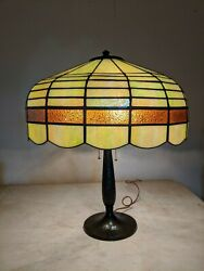 Antique Handel Lamp base with leaded stained shade Handel Era $950.00