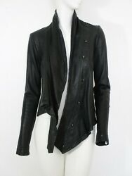 STUNNING WOMEN ALL SAINTS DAMREY LEATHER JACKET DRESDEN COWL BIKER BLACK 12 £395 $193.91