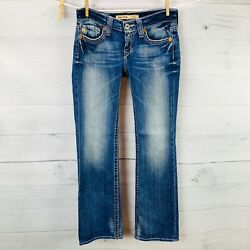 Big Star REMY Womens Low Rise Boot Flap Detail Back Pockets Blue Jeans Sz 25S $28.89