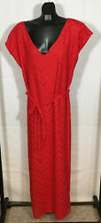 AVENUE Brand Dress Laser Cut Out Zigzags Short Sleeve Maxi Women#x27;s 18 20 Red $20.00