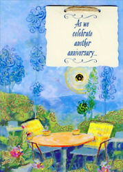 Table Chairs Foil Leaves Blue Sky Hand Decorated Husband Anniversary Card $5.99