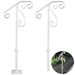 Single Post Handrail Wrought Iron fits 1 2 Steps Buildings Rustproof Commercial