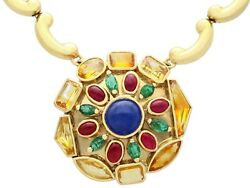 Vintage French Sapphire & Emerald Ruby & 18k Yellow Gold Gemstone Necklace