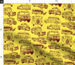 Kids Hand Drawn Bus Novelty Large Scale School Spoonflower Fabric by the Yard $11.75