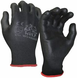 WOLF Ultra Thin Black Work Gloves Polyurethane Palm Coated Nylon Shell 12 Pairs $11.50