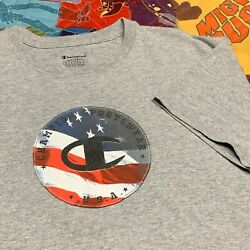 Champion Sportswear American Flag T Shirt Adult M L Gray USA $14.99