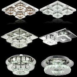 Modern Crystal Led Ceiling Light LED Pendant Lamp Flush Mount Chandelier Fixture