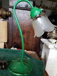 Vintage Cast Iron Floral green Desk Lamp $40.00