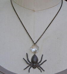 Black Brown Rustic Gothic Spider Vintage Chandelier Crystal Necklace Jewelry Art $25.99