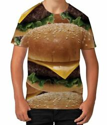 Cheese Burger Fast Food Lover BBQ Novelty Boys Kids Child T Shirt Ages 3 12 $13.97