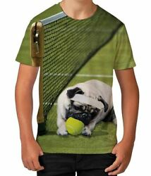 Pug Tennis Player Court Summer Funny Novelty Boys Kids Child T Shirt Ages 3 12 $13.97