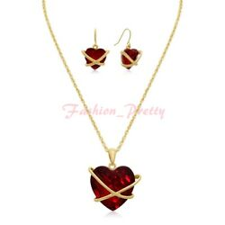New Arrived Pretty Red Crystal Heart Necklace With Free Matching Earrings $12.50