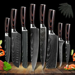Kitchen Chefs Knife Set Stainless Steel Damascus Pattern Sharp Cleaver Gift $13.99