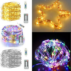 USB Twinkle LED String Fairy Lights 510M 50100200LED Copper Wire Party Remote $3.99