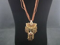 Amazing Bead and Rhinestone Chandelier Necklace – Preowned $14.99