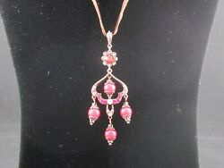 Chandelier Necklace with Red Beads and Rhinestones – Preowned $12.99