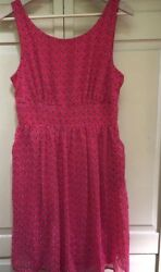 Maurices Sleeveless Dress Size 910 Pink Floral Fit and Flare Lined