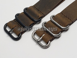 JaysAndKays® Vintage Leather Watch Strap Band in 3 Ring or 4 Ring Black PVD $25.00
