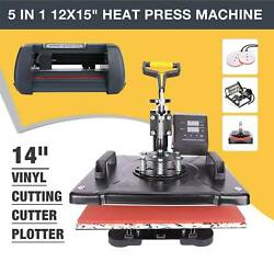 12x15 5 in 1 Heat Press Machine and 14 Vinyl Cutter Plotter Paper Cut Printer $383.00