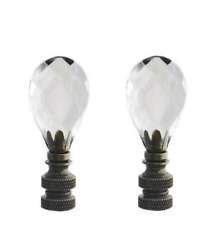 2 Clear Crystal Lamp Finials with Antique Base Tap 1 4 27 $28.99