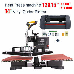 Double Station Heat Press 12x15 14 Vinyl Cutter Plotter Printer Sublimation $386.66