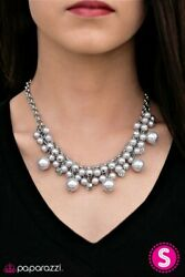 ~She Said Yes~ Gray Silver Pearl Necklace Paparazzi Jewelry
