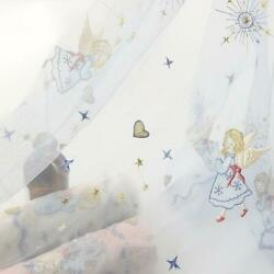 1Yard Off White Tulle Blue Angel Moon Star Floral Embroidery Lace Fabric 51quot;wide $11.99