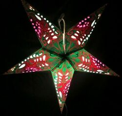 24quot; Green Flower Paper Star Hanging Lantern Lamp Light Cord Is Included # 2 $23.99