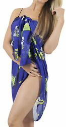 LA LEELA Women#x27;s Swimwear Bikini Cover Ups Beach Towel Wrap 72quot;x42quot; Blue L706 $15.99