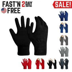 EvridWear Men Women Merino Wool Knit Liner Gloves Finger Fingerless Touchscreen $11.99