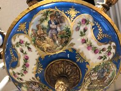 Antique French Gilt Brass & Hand Painted Porcelain Chandelier Romeo & Juliet