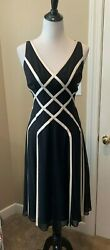 Adrianna Papell Boutique Evening Dress Size 10 Silk Black Lined Cocktail NWT $39.99