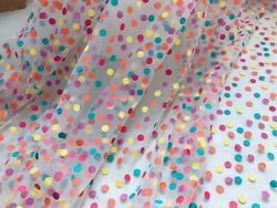 Rainbow Printed Dots Embroidery Tulle Mesh Lace Fabric for DIY Skirt Bridal Veil $11.99