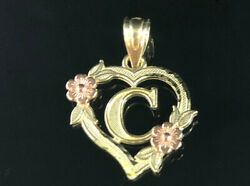 Brand New 10K Solid Gold Heart Initial Letter A to Z Heart Charm Pendant