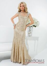 Tony Bowls LeGala Gold sequin illusion sweep train pageant wedding formal