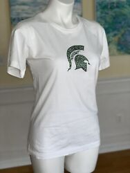 College Couture M Michigan State SPARTANS Rhinestone White Tee Shirt Top SMU