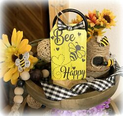 BEE HAPPY MINI TAG SIGN TIERED TRAY FARMHOUSE BUFFALO PLAID FLOWER RUSTIC DECOR $7.25