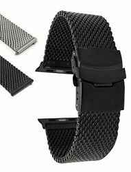 Extra Long XL Steel Mesh Watch Band for Apple Watch Band Deployment 38mm 40mm $23.76