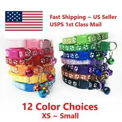 Pet Collars Small Dog Puppy Cat Adjustable Paw Printed Necklace Collar With Bell $4.95
