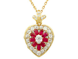 Antique 4.55 ct Diamond and Synthetic Ruby 18Carat Yellow Gold Pendant Locket