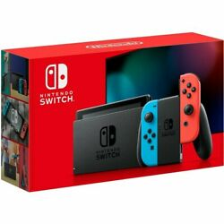 Nintendo Switch 32GB Gray Console with Neon Blue Neon Red Joy Con IN HAND $390.00
