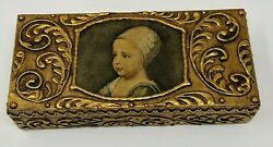 Vintage Box Gesso on Wood Charles Banchini Child#x27;s Face Gold Gilt Hinged Lid $34.19
