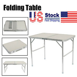 Adjustable Height Portable Centerfold Folding Table Outdoor Camp Party Picnic US $33.69