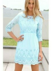 Sabo skirt embroidered eyelet 3 4 sleeve blue dress size 10 NWT $39.91